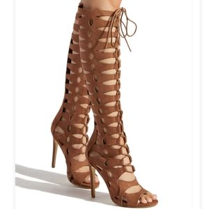 NWT ShoeDazzle Joslyn Lace Up Stiletto Boots